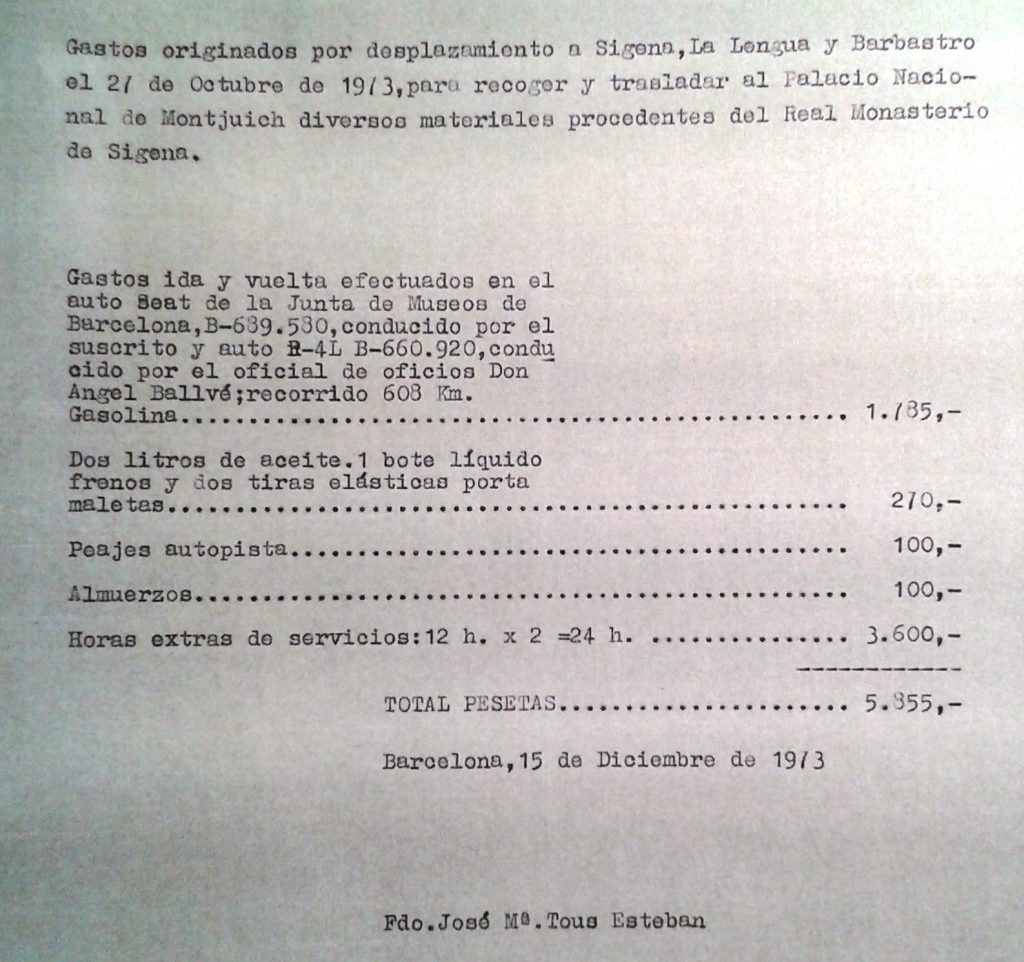 doc de recogida piezas sijena 1973